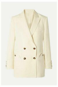 Blazé Milano - Savannah Everyday Double-breasted Linen And Silk-blend Blazer - Cream