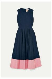 Roksanda - Athena Two-tone Gathered Cotton-poplin Midi Dress - Navy