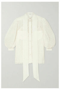 Givenchy - Pussy-bow Silk Crepe-trimmed Lace Blouse - Ivory