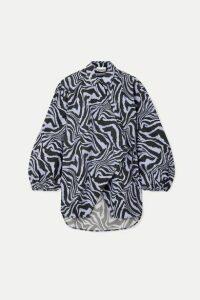 GANNI - Tiger-print Cotton-poplin Wrap Blouse - Blue