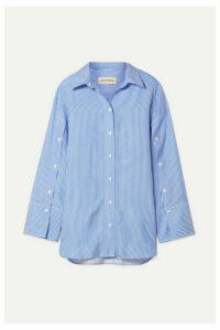 By Malene Birger - Nadeonso Striped Satin-twill Shirt - Light blue