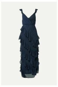 Alice + Olivia - Lessie Ruffled Silk-chiffon Gown - Navy
