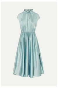 Adam Lippes - Gathered Silk-charmeuse Turtleneck Midi Dress - Sky blue