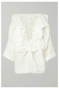 Carmen March - Ruffled Frayed Taffeta Blouse - White