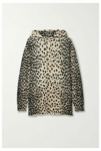 R13 - Oversized Distressed Cheetah-print Cashmere Hoodie - Beige
