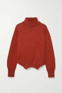 Monse - Upside Down Oversized Cutout Merino Wool Turtleneck Sweater - Brick
