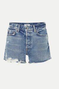 GRLFRND - Helena Distressed Denim Shorts - Mid denim