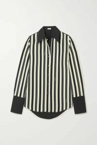 Loewe - Striped Wool-twill And Cotton-poplin Shirt - Black