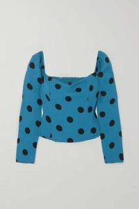 Reformation - Marjorie Polka-dot Shirred Crepe Blouse - Blue