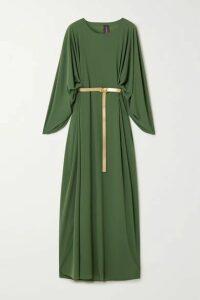 Norma Kamali - Belted Draped Stretch-jersey Maxi Dress - Green