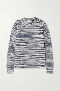 See By Chloé - Button-embellished Space-dyed Knitted Sweater - Blue