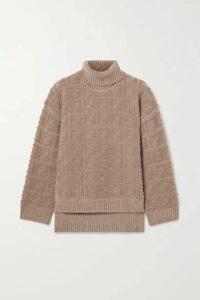 Fendi - Oversized Bouclé Turtleneck Sweater - Sand
