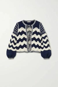 Ulla Johnson - Yesenia Tie-front Crocheted Cotton And Wool-blend Cardigan - Navy