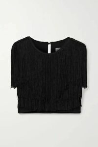 Miguelina - Adisa Cropped Fringed Jersey Top - Black