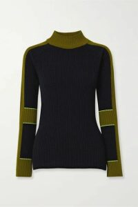 Victoria Beckham - Color-block Ribbed Wool And Cashmere-blend Turtleneck Sweater - Navy