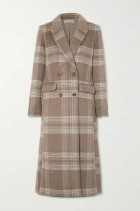 Reformation - York Double-breasted Checked Woven Coat - Beige