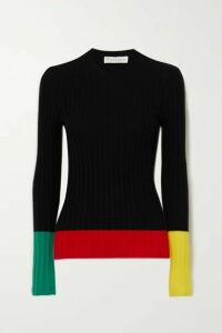 JW Anderson - Color-block Ribbed Merino Wool Sweater - Black