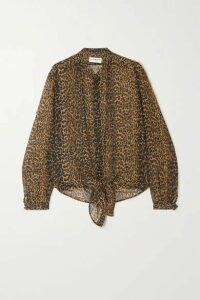 SAINT LAURENT - Leopard-print Wool-gauze Shirt - Leopard print