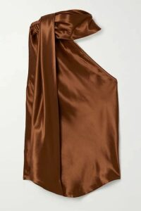 The Range - Convertible One-shoulder Satin Top - Tan