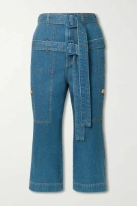 Lanvin - Belted Cropped High-rise Straight-leg Jeans - Blue