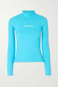 Vetements - Printed Stretch-jersey Turtleneck Top - Turquoise