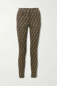 Fendi - Stretch-jacquard Skinny Pants - Brown