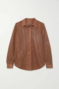 Zeynep Arcay - Perforated Leather Shirt - Tan
