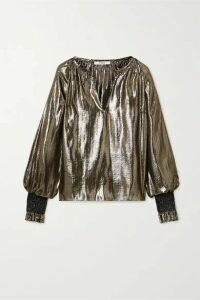 10 Crosby by Derek Lam - Helena Oversized Silk And Lurex-blend Blouse - Gold