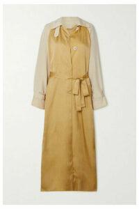 Roksanda - Akuta Two-tone Silk-gabardine And Cupro Trench Coat - Gold