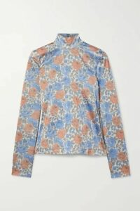 Marques' Almeida - Floral-print Satin-jersey Turtleneck Top - Gray