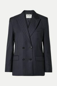 RE/DONE - 70s Double-breasted Pinstriped Wool Blazer - Navy