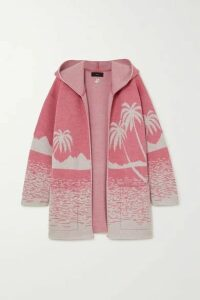 Alanui - Oversized Hooded Wool-jacquard Cardigan - Pink