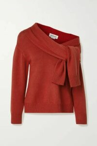 Monse - Asymmetric Tie-front Merino Wool Sweater - Brick
