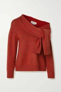 Monse - Asymmetric Tie-front Merino Wool Sweater - Brick