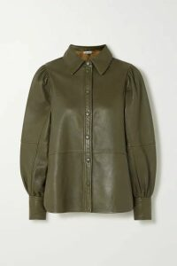 GANNI - Leather Shirt - Army green