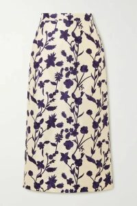 Brock Collection - Floral-embroidered Shantung Midi Skirt - Cream