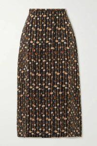 RIXO - Printed Silk-crepe Midi Skirt - Black