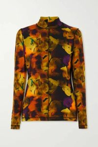 GANNI - Printed Stretch-cotton Jersey Turtleneck Top - Yellow