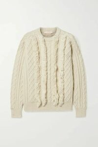 Tory Burch - Fringed Cable-knit Wool Sweater - Ivory