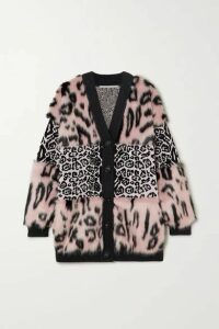 Stella McCartney - Faux Fur And Leopard-intarsia Knitted Cardigan - Pink