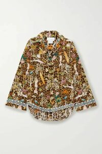 Camilla - Crystal-embellished Printed Washed-silk Shirt - Light brown