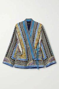 Etro - Printed Satin-jacquard Wrap Top - Blue