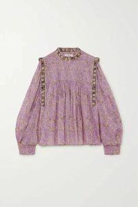 Isabel Marant Étoile - Vega Pintucked Floral-print Cotton-voile Blouse - Lilac