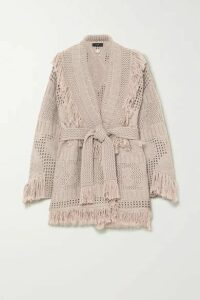 Alanui - Belted Fringed Open-knit Wool Cardigan - Beige