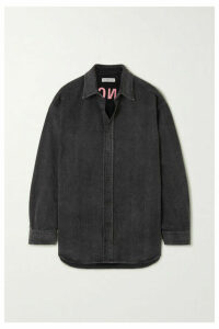 Balenciaga - Embroidered Denim Shirt - Black