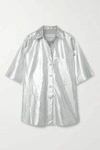 Pushbutton - Oversized Metallic Coated-twill Shirt - Silver