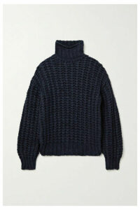 Anine Bing - Iris Open-knit Turtleneck Sweater - Midnight blue
