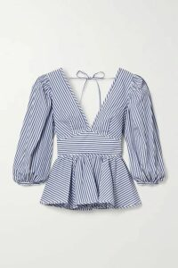 STAUD - Luna Striped Cotton-poplin Peplum Top - White