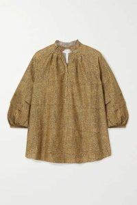 APIECE APART - La Paz Printed Cotton And Silk-blend Top - Tan