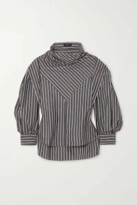 Isabel Marant - Welly Paneled Striped Cotton And Silk-blend Blouse - Anthracite